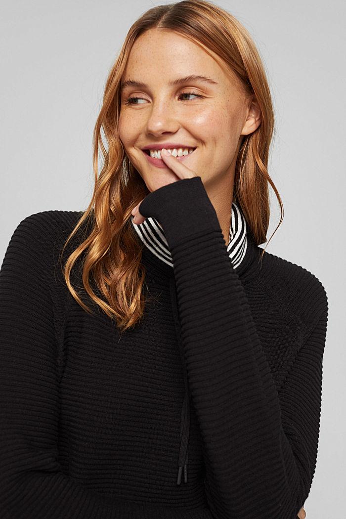 Ripp-Pullover mit Kordelzug-Kragen, Baumwolle, BLACK, detail image number 6
