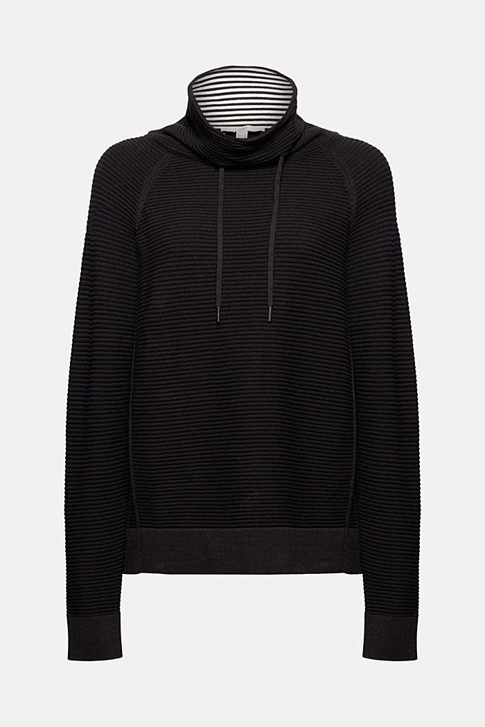 Ripp-Pullover mit Kordelzug-Kragen, Baumwolle, BLACK, detail image number 7