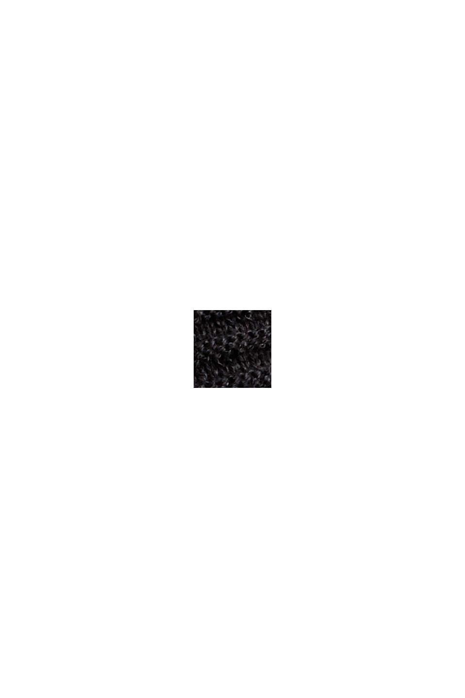 Geribde trui met kraag met tunnelkoord, katoen, BLACK, swatch