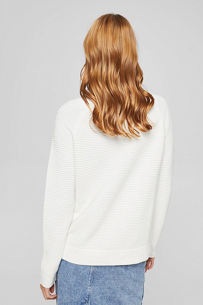 Ripp-Pullover mit Kordelzug-Kragen, Baumwolle, OFF WHITE, detail image number 3