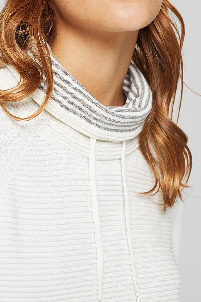 Ripp-Pullover mit Kordelzug-Kragen, Baumwolle, OFF WHITE, detail image number 2