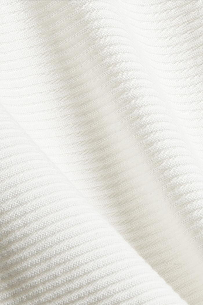 Ripp-Pullover mit Kordelzug-Kragen, Baumwolle, OFF WHITE, detail image number 4