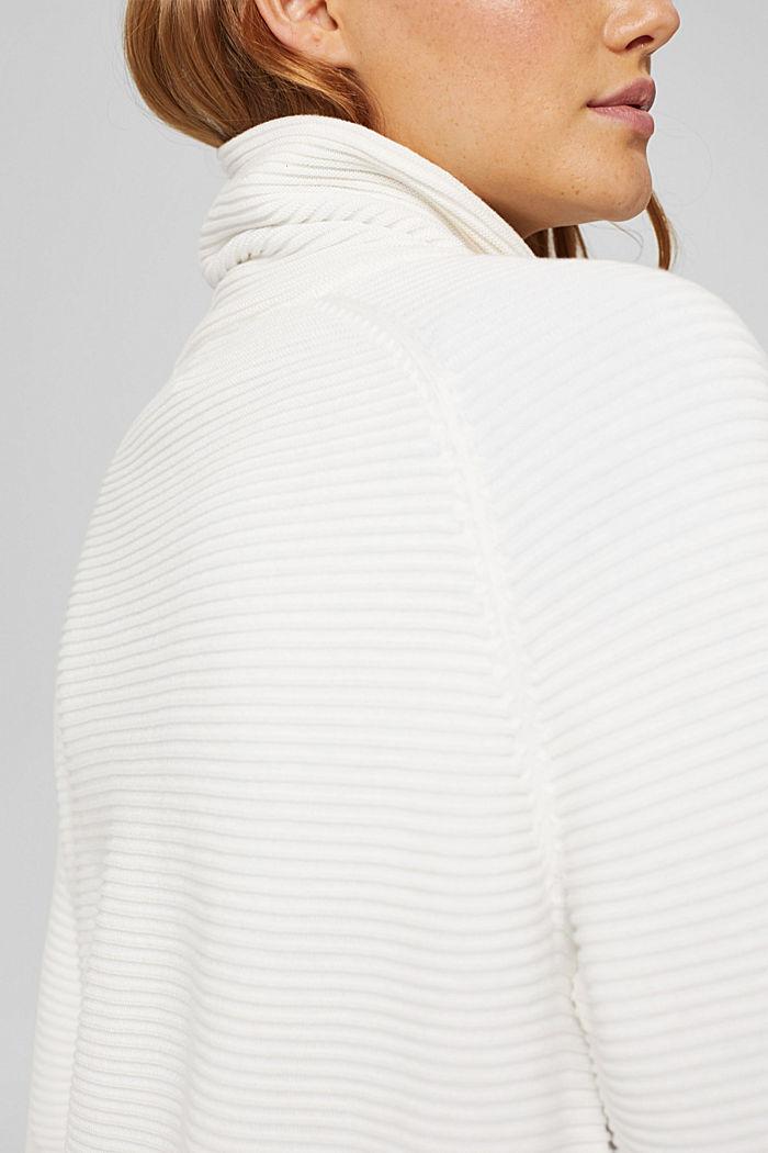 Ripp-Pullover mit Kordelzug-Kragen, Baumwolle, OFF WHITE, detail image number 5