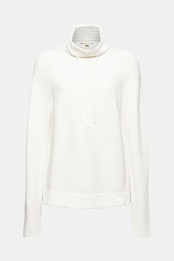 Ripp-Pullover mit Kordelzug-Kragen, Baumwolle, OFF WHITE, detail image number 7