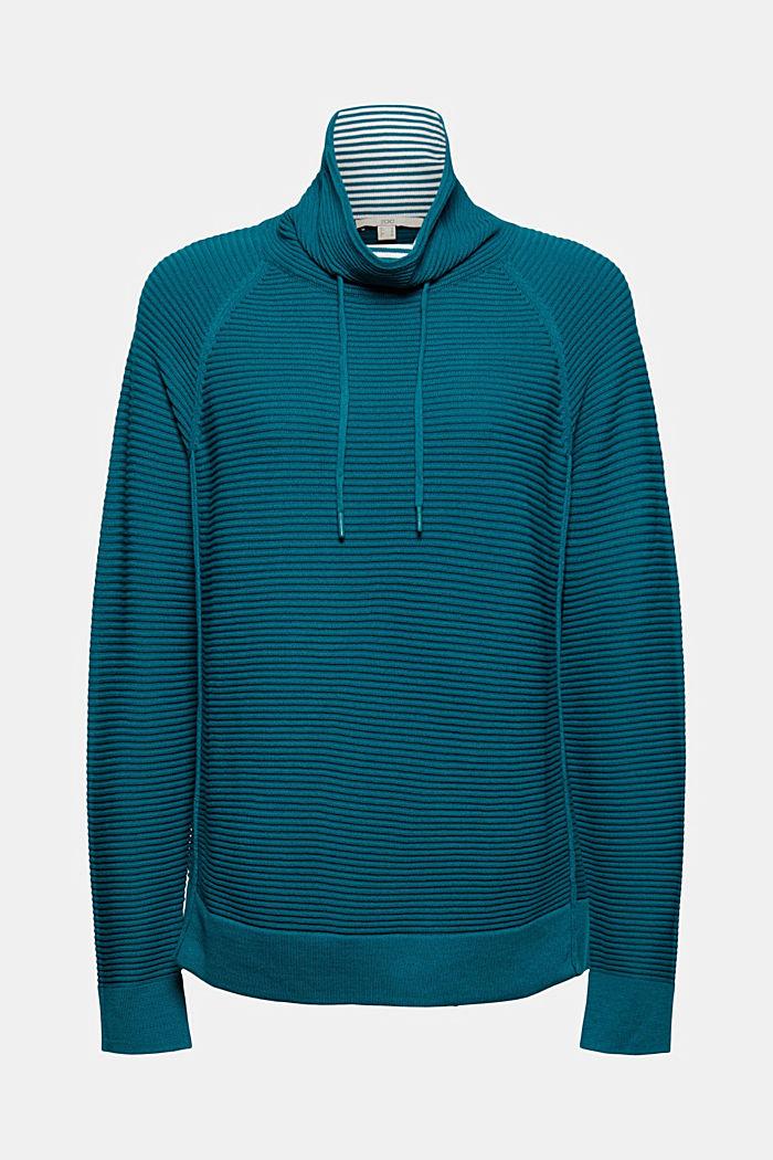 Ripp-Pullover mit Kordelzug-Kragen, Baumwolle, EMERALD GREEN, detail image number 5