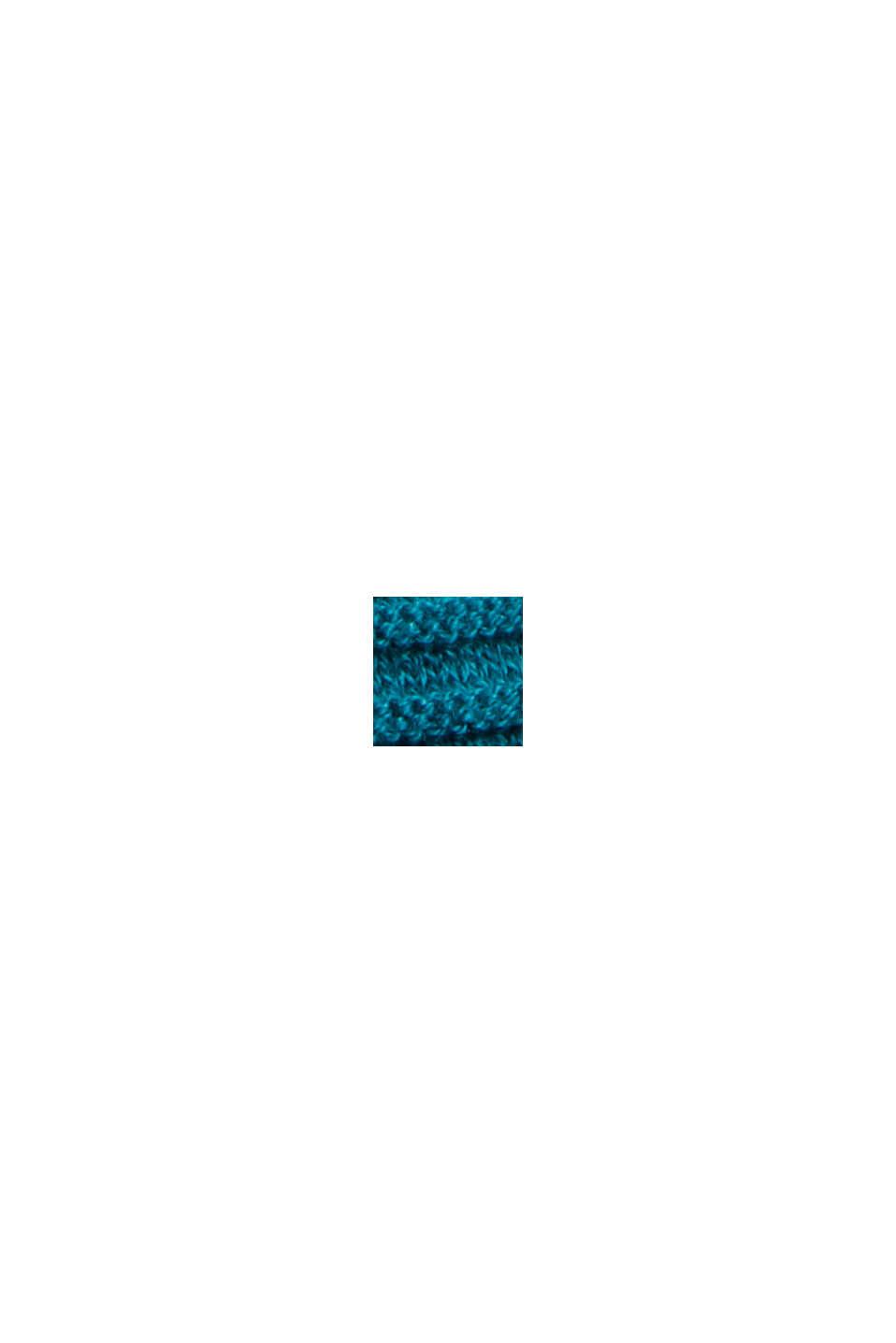 Geribde trui met kraag met tunnelkoord, katoen, EMERALD GREEN, swatch