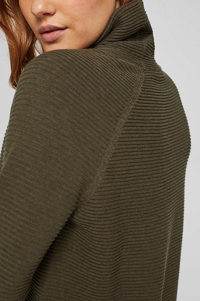 Ribbed jumper with a drawstring collar, cotton, DARK KHAKI, detail image number 2