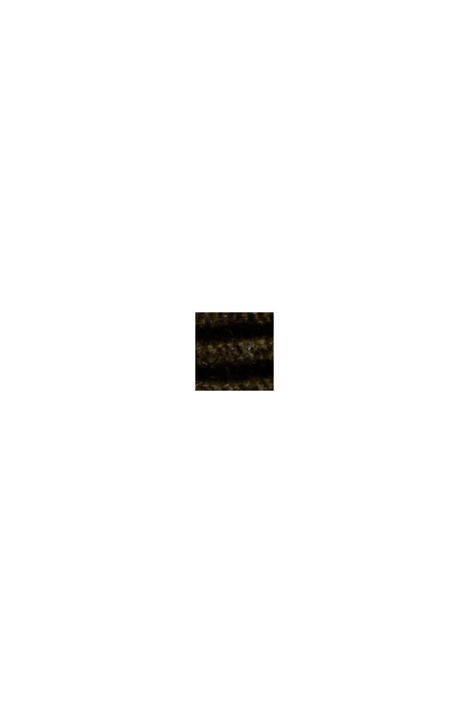 Geribde trui met kraag met tunnelkoord, katoen, DARK KHAKI, swatch