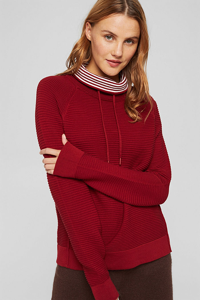 Ribbed jumper with a drawstring collar, cotton, DARK RED, detail image number 0