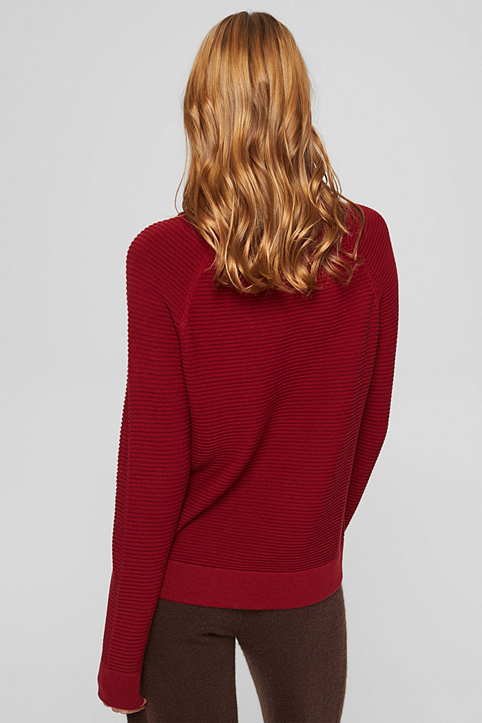 Ribbed jumper with a drawstring collar, cotton, DARK RED, detail image number 3