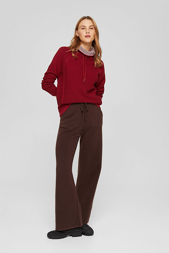 Ribbed jumper with a drawstring collar, cotton, DARK RED, detail image number 6