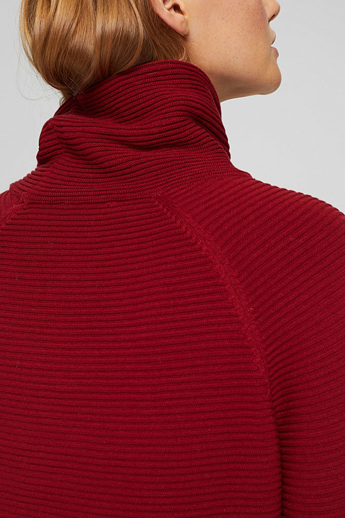 Ribbed jumper with a drawstring collar, cotton, DARK RED, detail image number 5