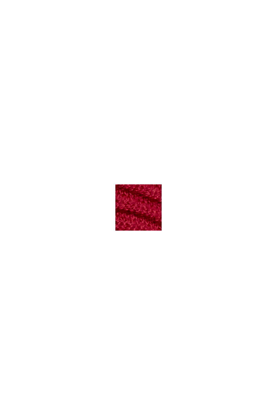 Geribde trui met kraag met tunnelkoord, katoen, DARK RED, swatch
