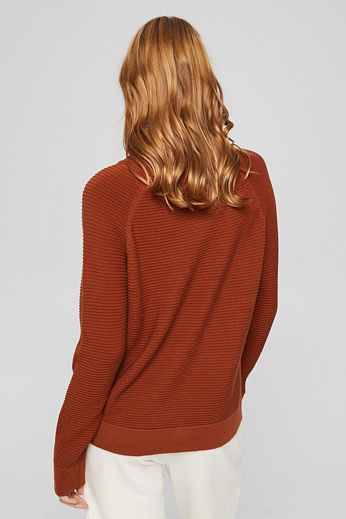 Ripp-Pullover mit Kordelzug-Kragen, Baumwolle, RUST ORANGE, detail image number 3