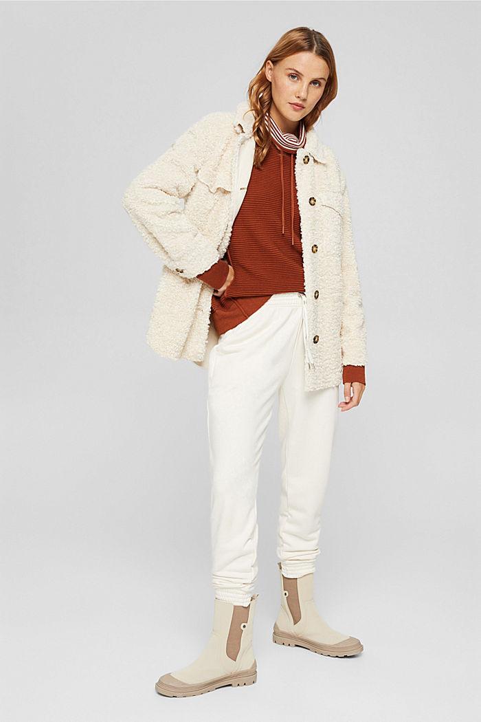 Ripp-Pullover mit Kordelzug-Kragen, Baumwolle, RUST ORANGE, detail image number 1