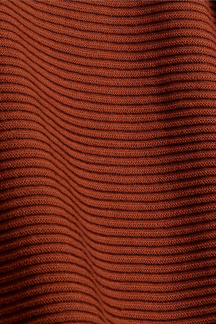 Ripp-Pullover mit Kordelzug-Kragen, Baumwolle, RUST ORANGE, detail image number 4