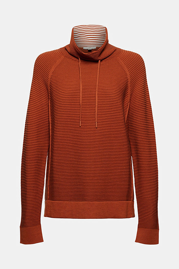 Ripp-Pullover mit Kordelzug-Kragen, Baumwolle, RUST ORANGE, detail image number 6