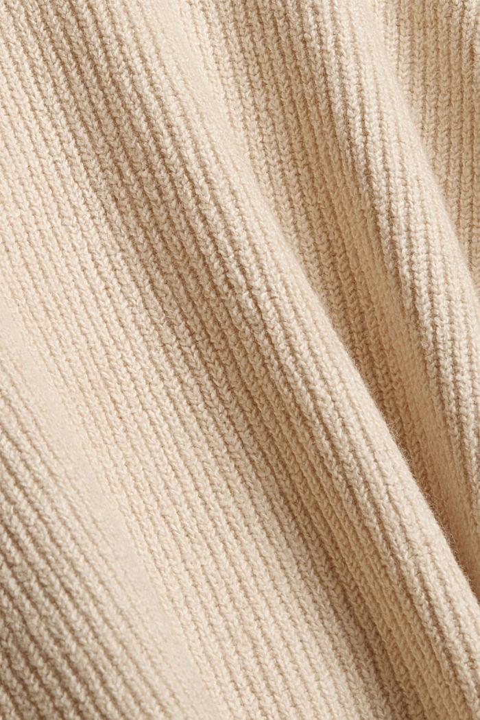 Mit Wolle: Hoodie aus Rippstrick, BEIGE, detail image number 4