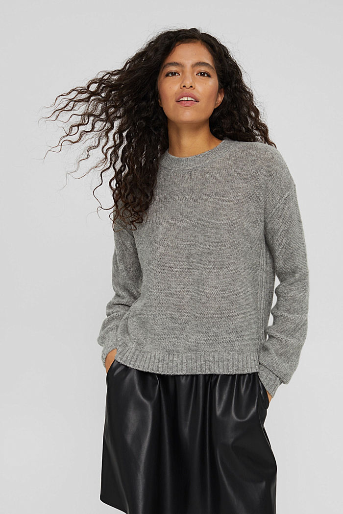 Wool blend: jumper with inside-out seams, MEDIUM GREY, detail image number 0