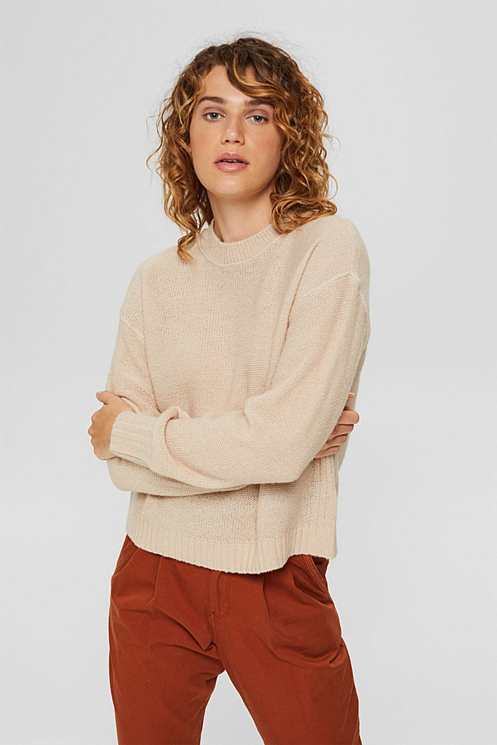Wool blend: jumper with inside-out seams, BEIGE, detail image number 0