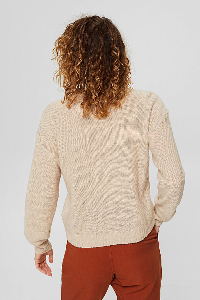 Wool blend: jumper with inside-out seams, BEIGE, detail image number 3