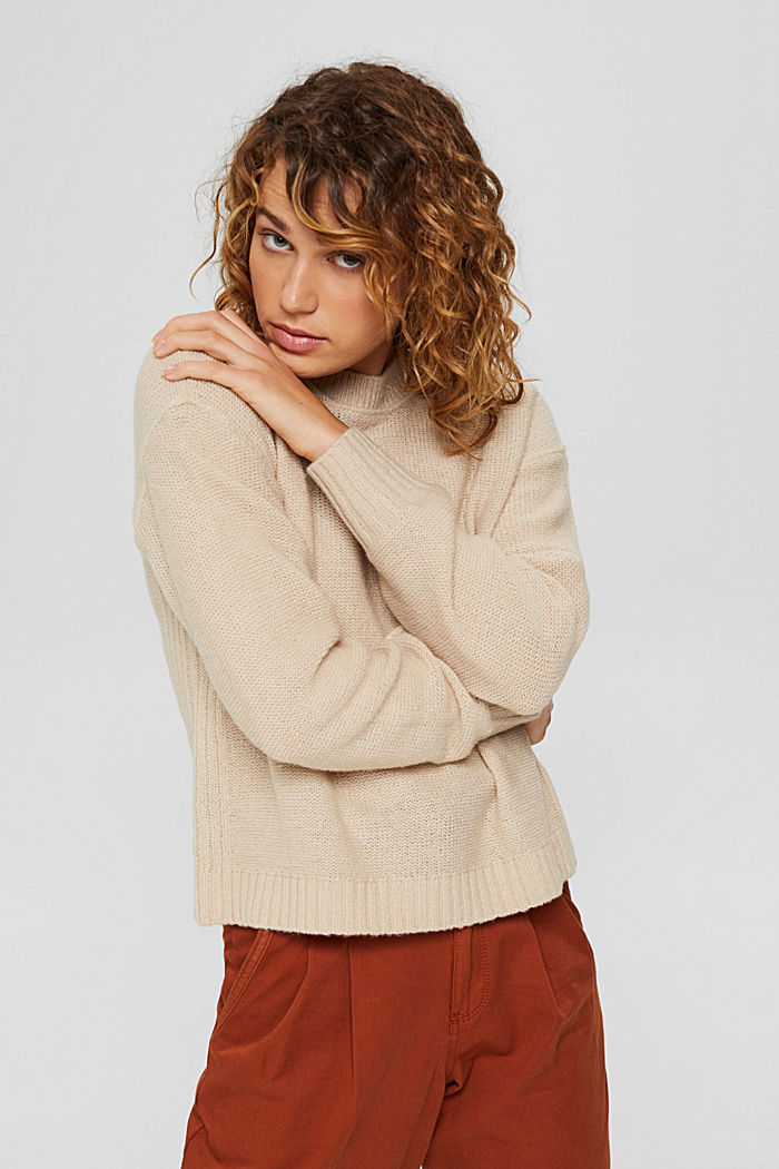 Wool blend: jumper with inside-out seams, BEIGE, detail image number 5