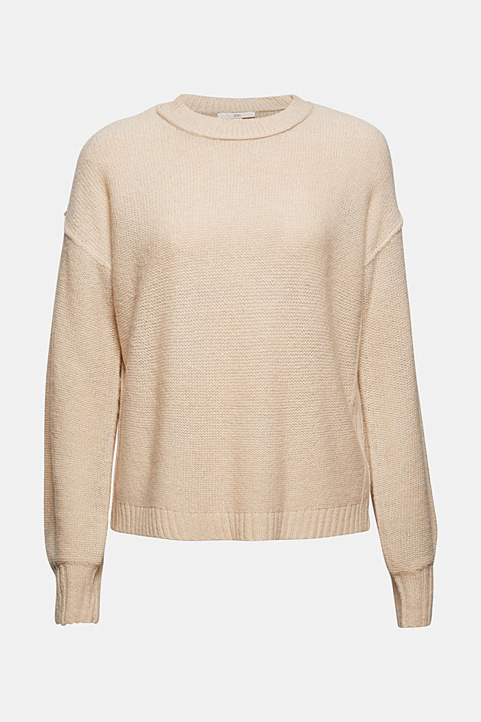 Wool blend: jumper with inside-out seams, BEIGE, detail image number 6