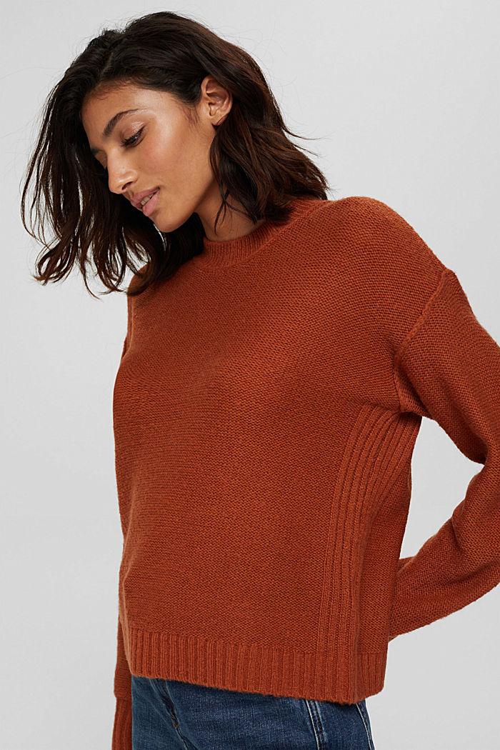 À teneur en laine: le pull-over à coutures inversées, RUST ORANGE, detail image number 0