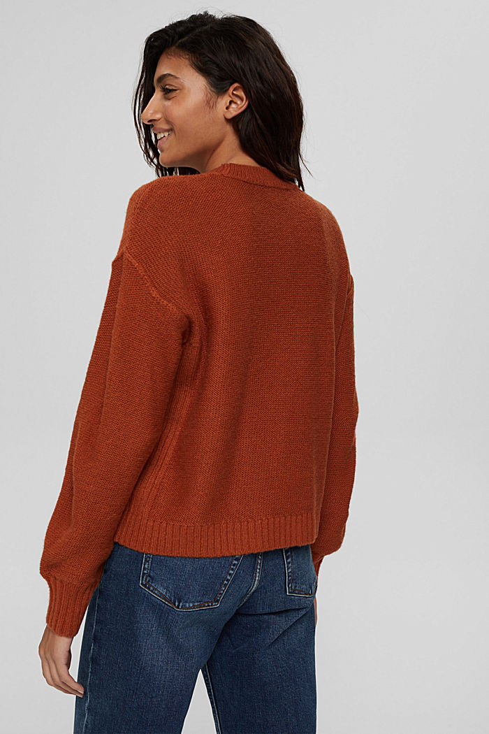 À teneur en laine: le pull-over à coutures inversées, RUST ORANGE, detail image number 3