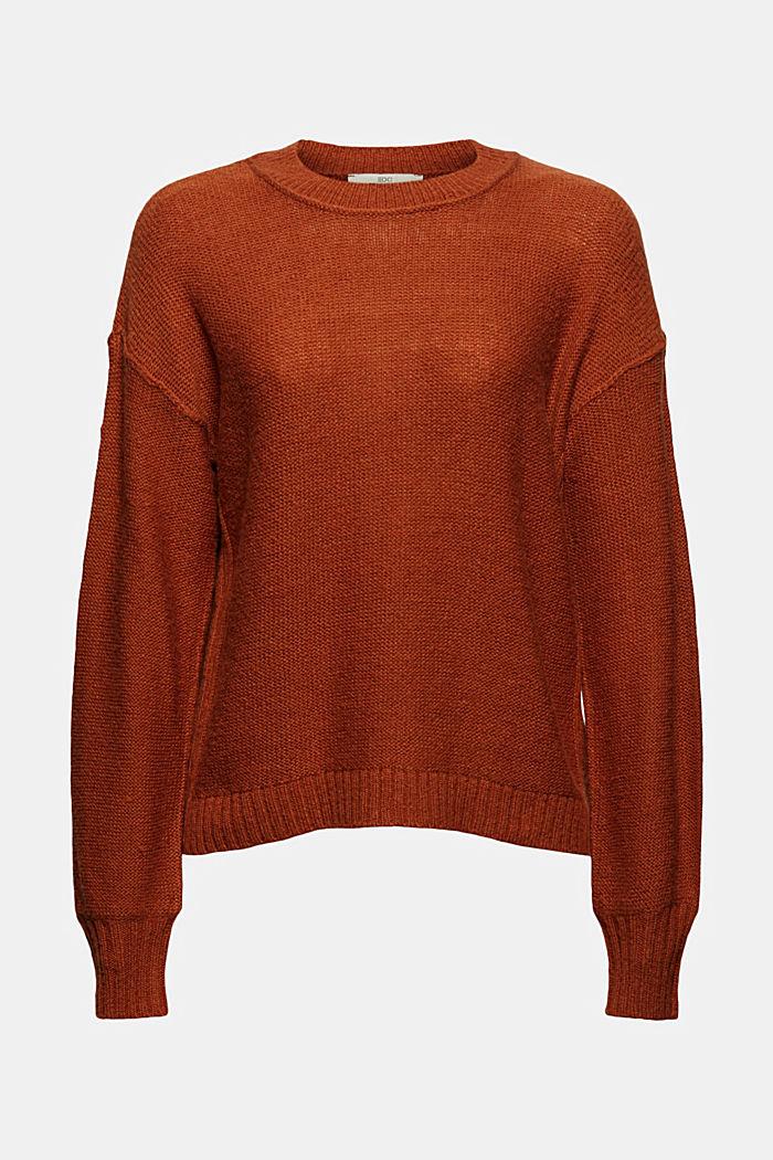 À teneur en laine: le pull-over à coutures inversées, RUST ORANGE, detail image number 5