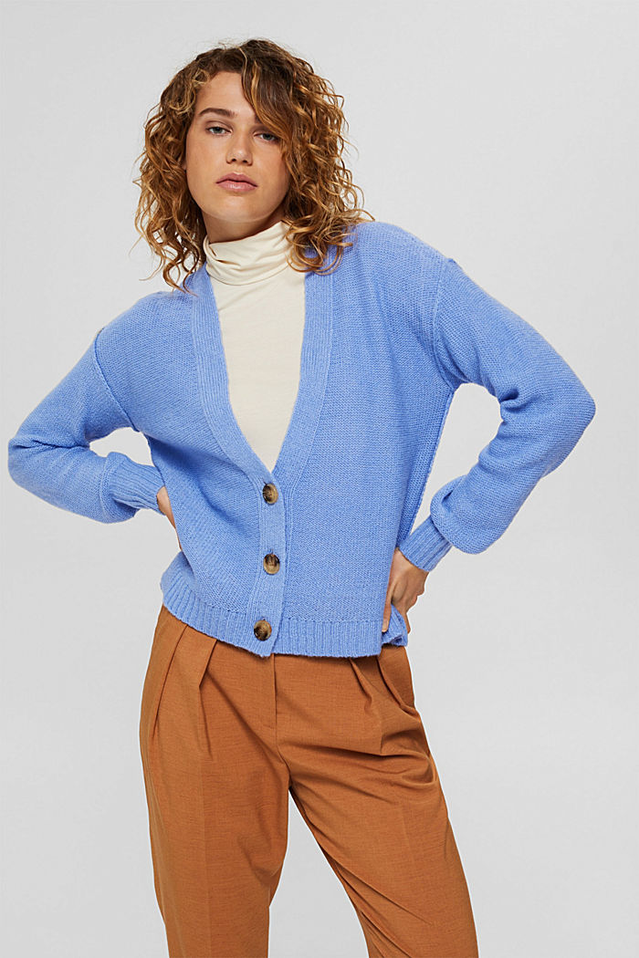 Mit Wolle: Cardigan mit Inside-Out-Nähten, BRIGHT BLUE, detail image number 0