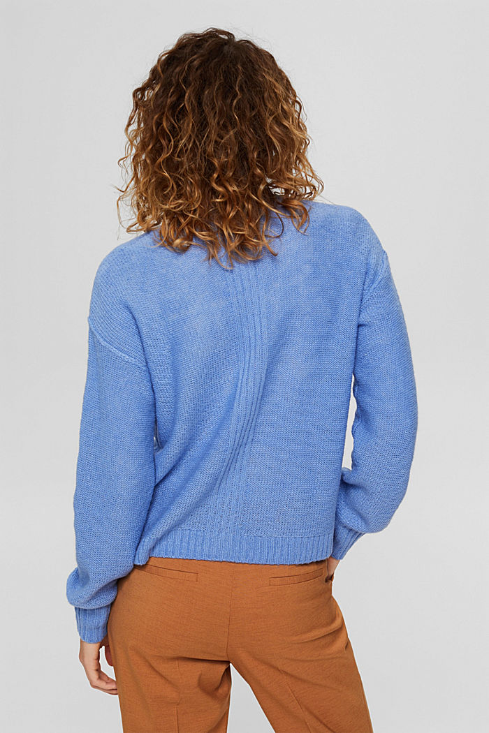 Mit Wolle: Cardigan mit Inside-Out-Nähten, BRIGHT BLUE, detail image number 3