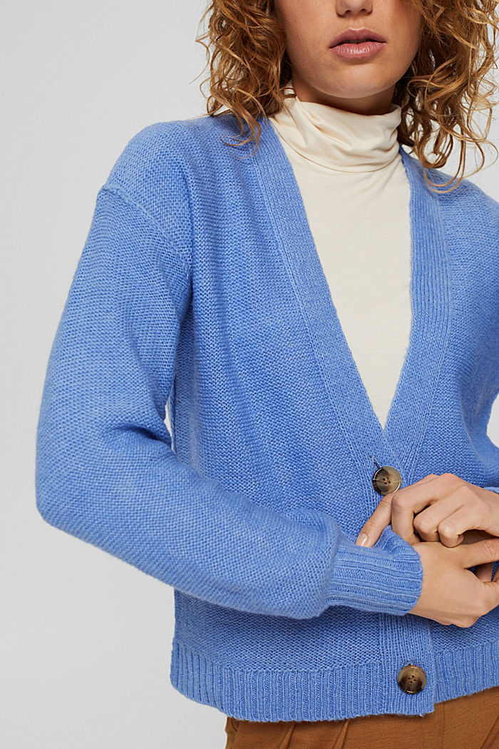 Mit Wolle: Cardigan mit Inside-Out-Nähten, BRIGHT BLUE, detail image number 2