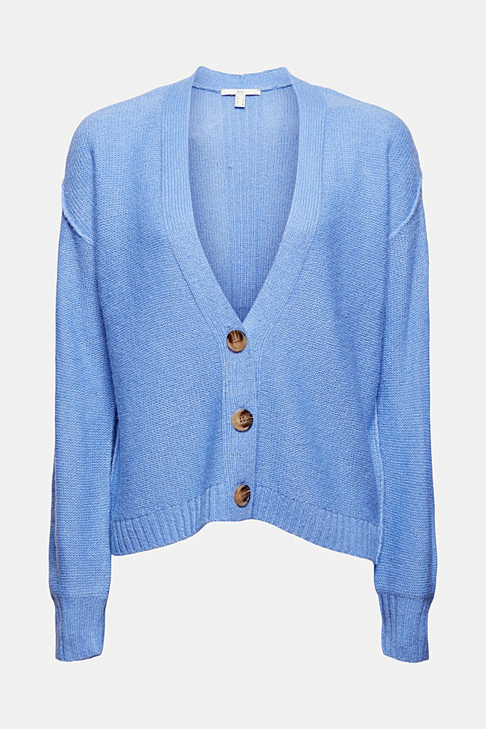 Mit Wolle: Cardigan mit Inside-Out-Nähten, BRIGHT BLUE, detail image number 6