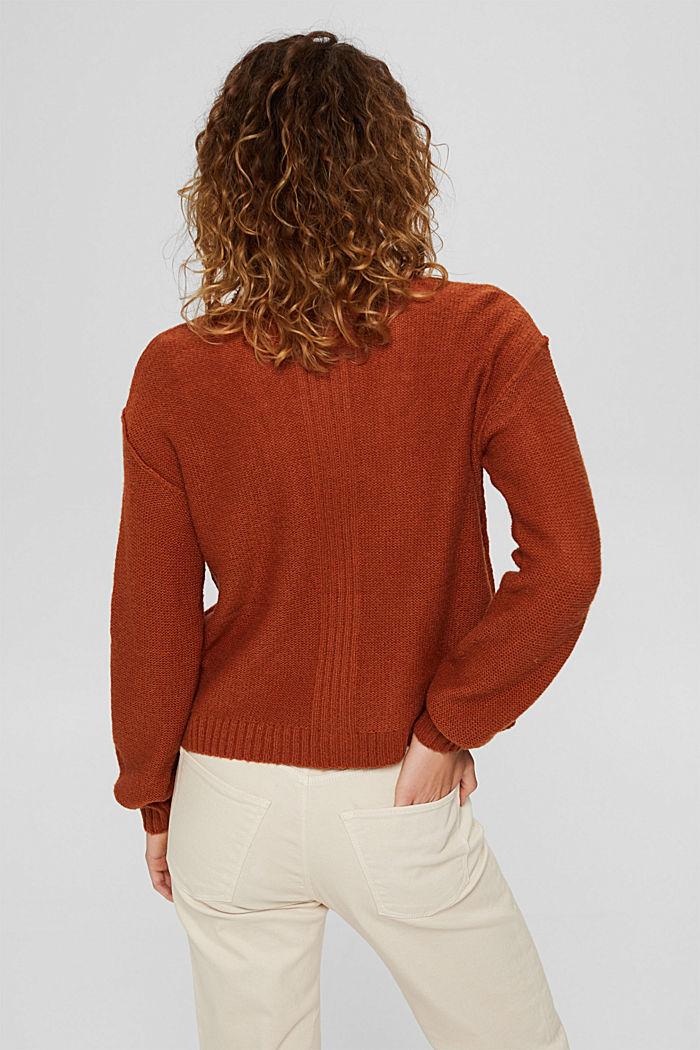 Mit Wolle: Cardigan mit Inside-Out-Nähten, RUST ORANGE, detail image number 3