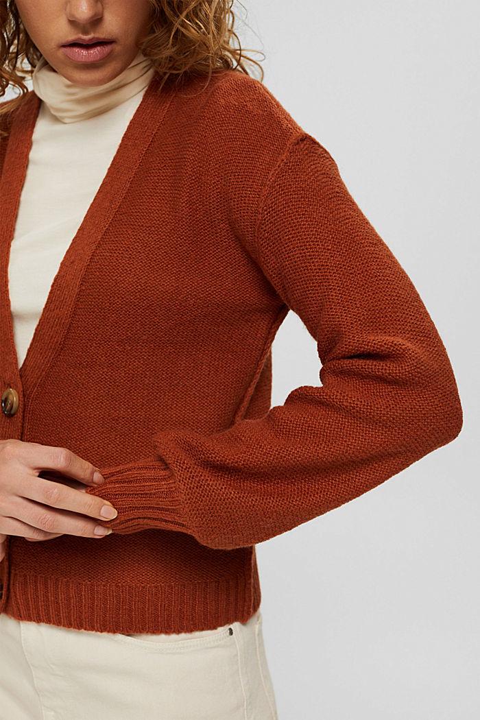 Mit Wolle: Cardigan mit Inside-Out-Nähten, RUST ORANGE, detail image number 2