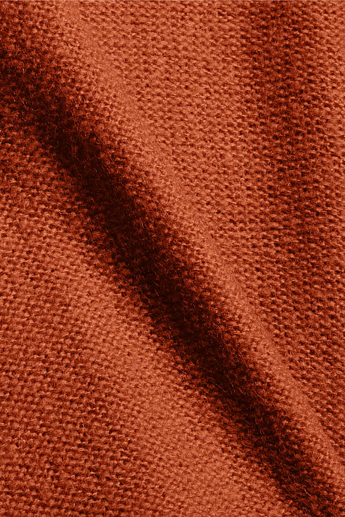 Mit Wolle: Cardigan mit Inside-Out-Nähten, RUST ORANGE, detail image number 4