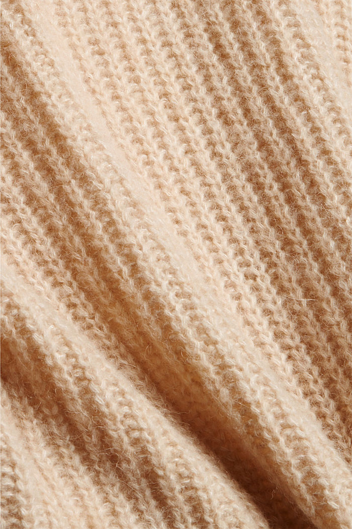 Met wol/alpaca: trui met col, BEIGE, detail image number 4