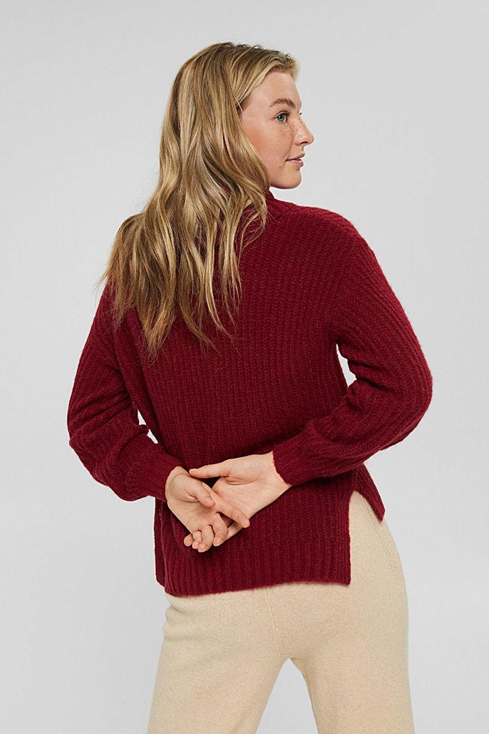 Mit Wolle/Alpaka: Rollkragen-Pullover, DARK RED, detail image number 3