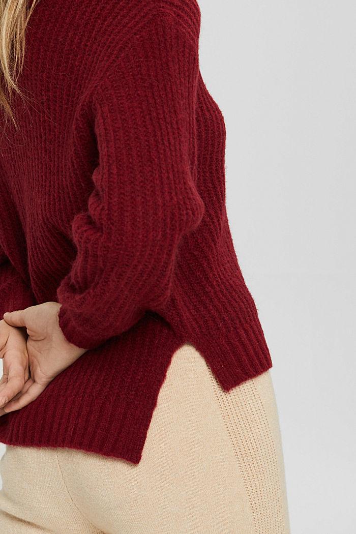 Mit Wolle/Alpaka: Rollkragen-Pullover, DARK RED, detail image number 2