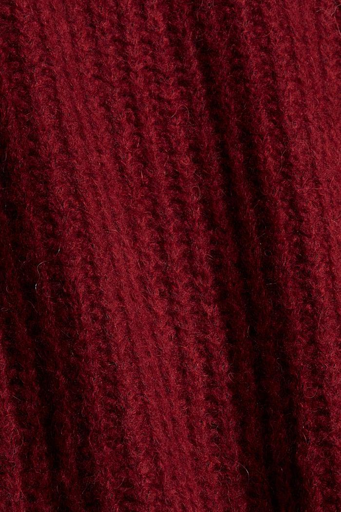 Mit Wolle/Alpaka: Rollkragen-Pullover, DARK RED, detail image number 4