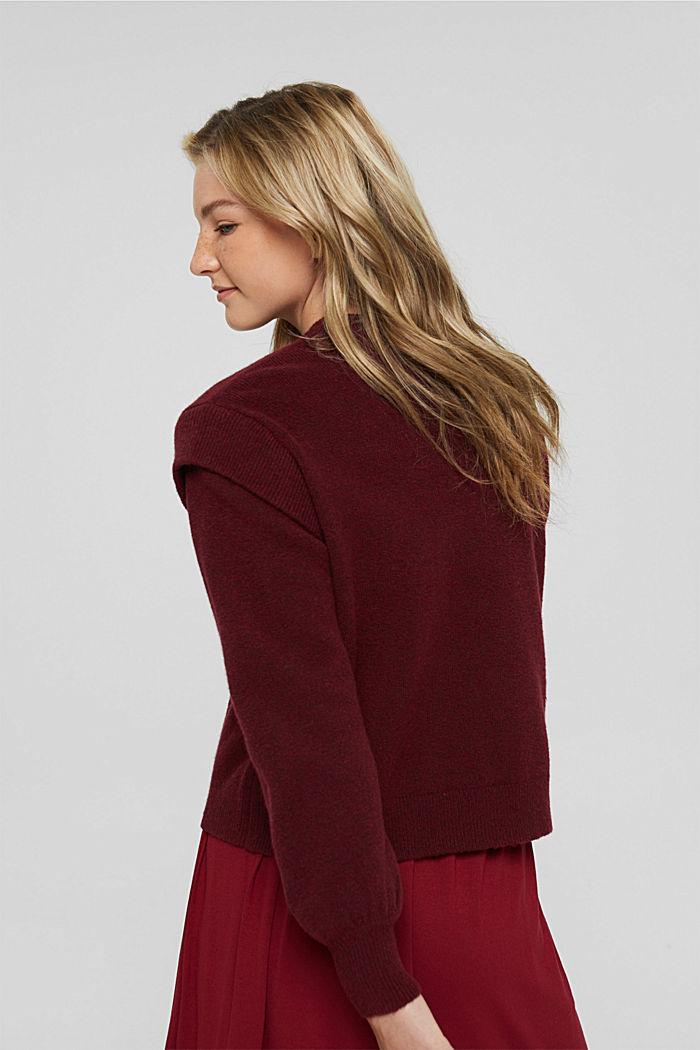 Sweaters Oversized shoulder detail sw, DARK RED, detail image number 3