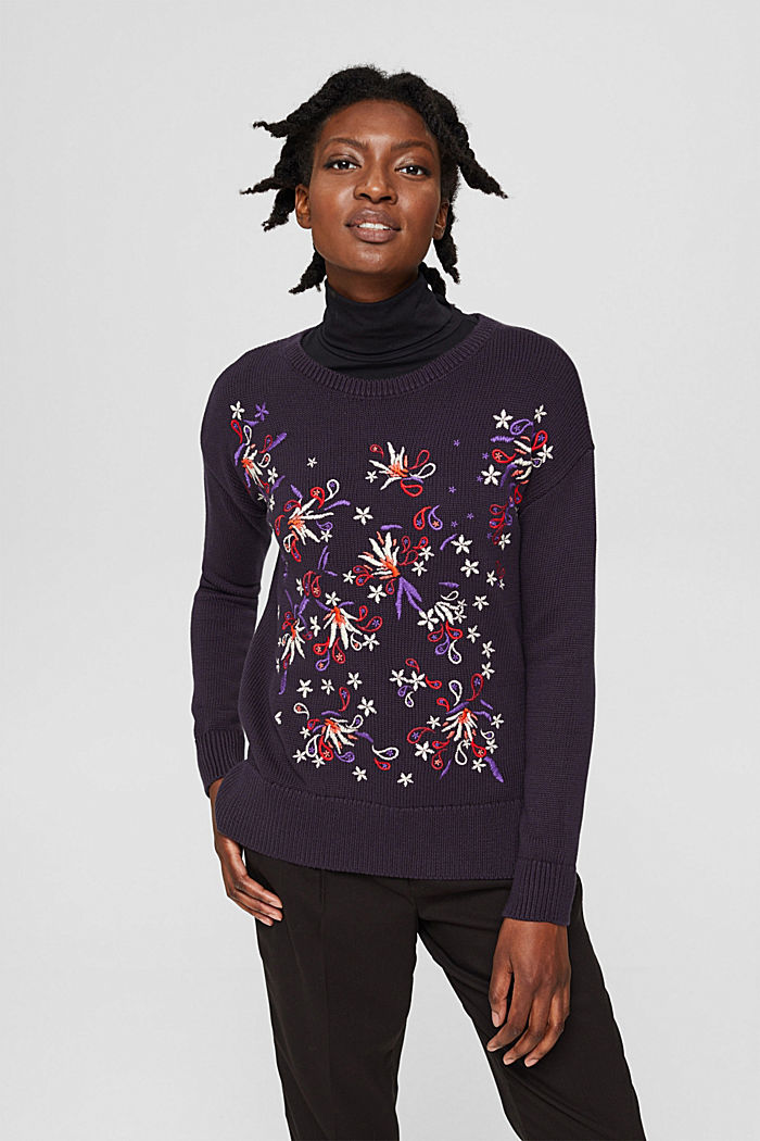 Pullover mit Stickerei, Organic Cotton, NAVY, detail image number 0