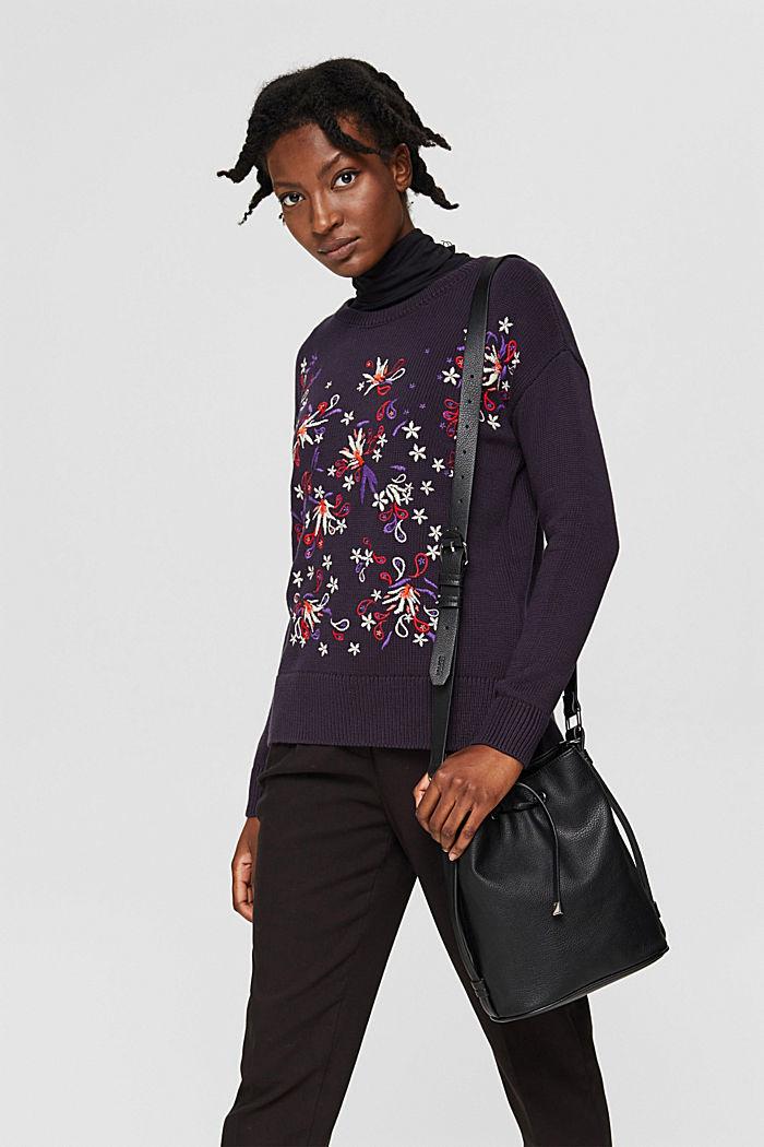 Pullover mit Stickerei, Organic Cotton, NAVY, detail image number 5