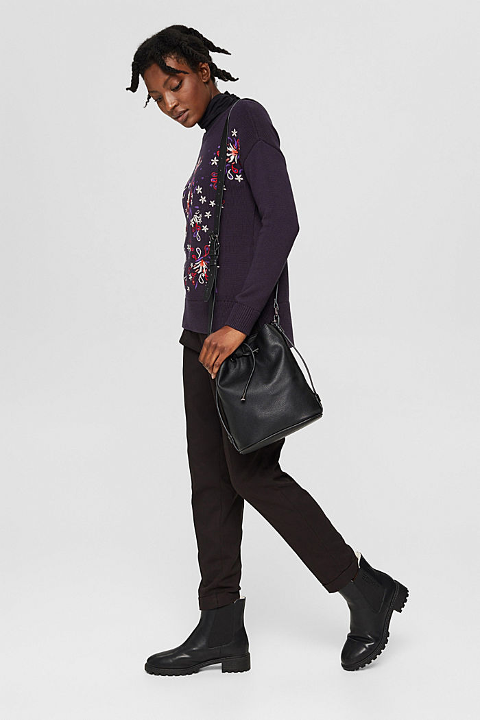Pullover mit Stickerei, Organic Cotton, NAVY, detail image number 1