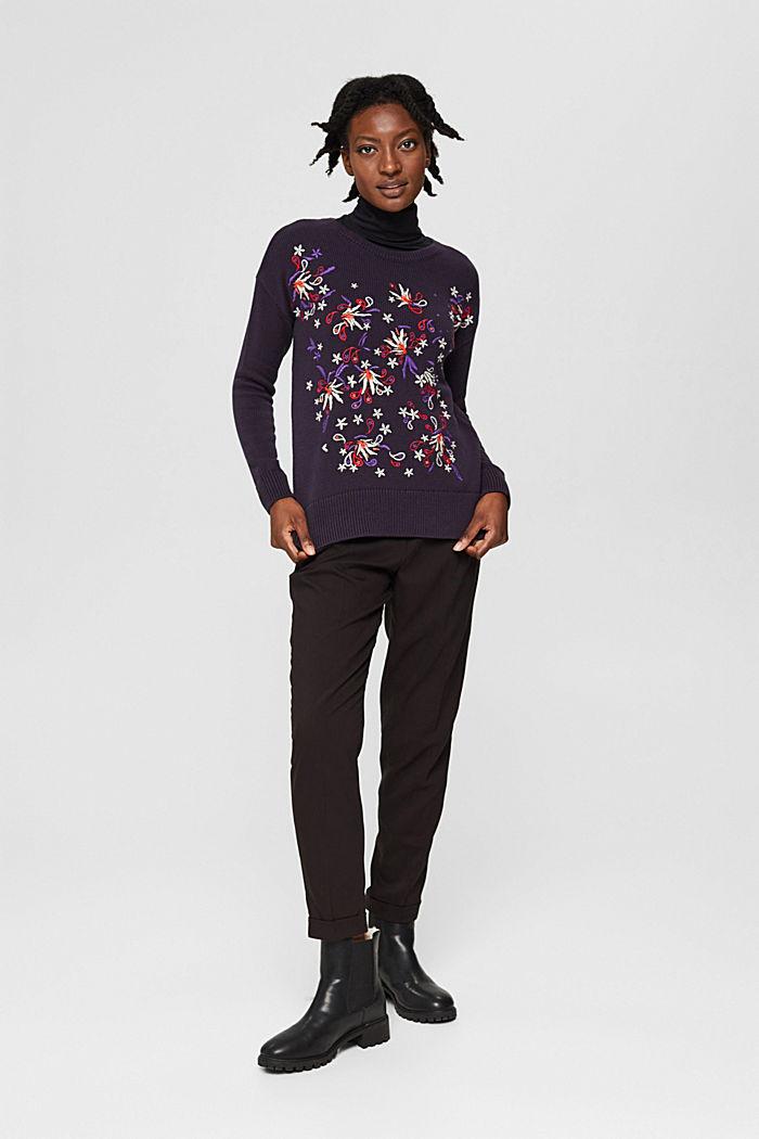 Pullover mit Stickerei, Organic Cotton, NAVY, detail image number 7