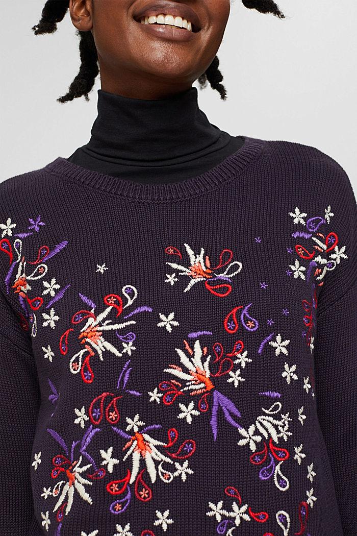 Pullover mit Stickerei, Organic Cotton, NAVY, detail image number 2