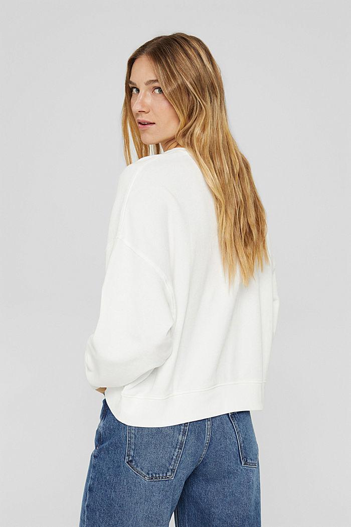 Sweatshirt met statement, 100% biologisch katoen, OFF WHITE, detail image number 3