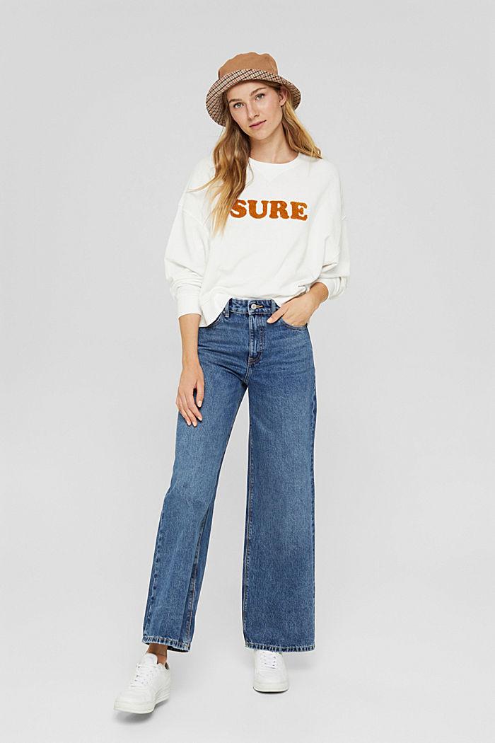 Sweatshirt met statement, 100% biologisch katoen, OFF WHITE, detail image number 1