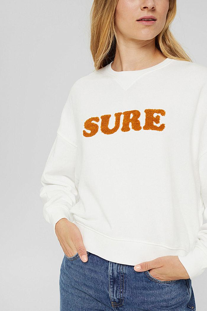 Sweatshirt met statement, 100% biologisch katoen, OFF WHITE, detail image number 2